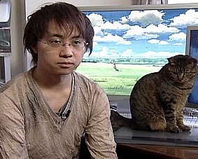 Makoto Shinkai and his cat