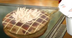 Mokona is slurping down the okonomiyaki that Kamui and Fuuma made, spawning a fight.
